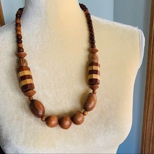 Vintage Chunky Wooden Bead Necklace